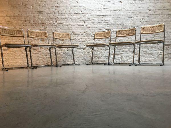 Die-Firma-vintage-shop-Antwerp-set-wicker-chrome-chairs-midcentury-design
