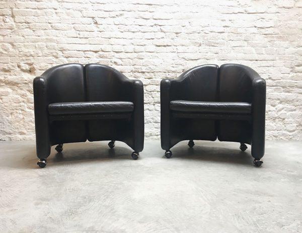 Die-Firma-vintage-shop-Antwerp-seugeniogerli-ps142-tecno-clubchairs-midcentury-design