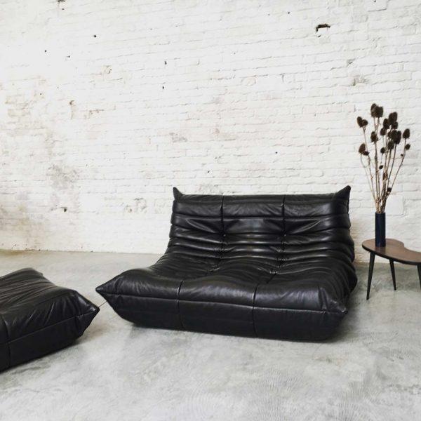 Die Firma vintage shop Antwerp Ligne Roset Togo Michel Ducaroy jaren 70 bruin zwart