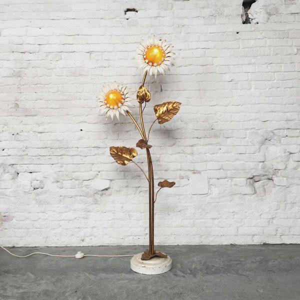 Die Firma vintage shop Antwerp art deco messing zonnebloem vloerlamp
